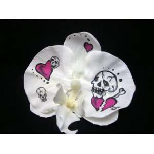 Hand Painted Tattoo Orchid Hair Flower Clip: Beauty