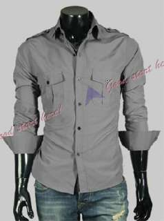Mens Shirt Fashion Designer Military Slim Dress Shirts Western Style