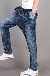 Mens Casual Slim Fit Hip Hop Harem Straight Denim Jeans Pants Trousers
