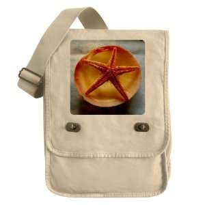 Messenger Field Bag Khaki Sea Shell and a Starfish