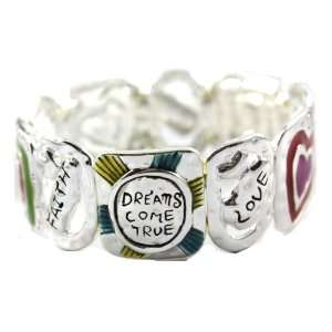 True Message Stretch Bracelet with Heart More Designs Silver Tone