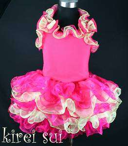 Hot Pink Lime Green Pageant National Dress 2 8Y J5Z3
