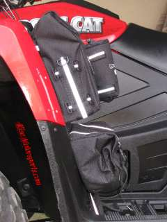 ATV Deluxe Cargo Fender Bags Drink Holder Water Proof Two Compartments