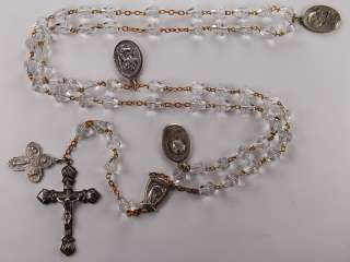 Large BRILLIANT VINTAGE CUT GLASS Rosary with MEDALS NR