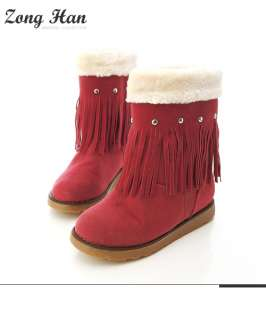 Australian Classic Faux Suede Fringe Tassle Boots in Rose Pink,Brown