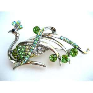 Crystal Rhinestone Phoenix Bird Shiny Silver Tone Pin Brooch Jewelry
