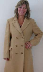 AQUASCUTUM LONDON BUTTERSCOTCH WOOL LADIES MILITARY TRENCH COAT JACKET