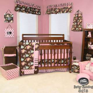 Baby Girl Kid Toddler Pink Brown Flower For Crib Nursery Blanket