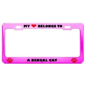 Bengal Cat Pet Pink Metal License Plate Frame Tag Holder