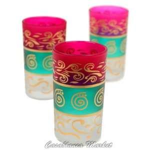 Moroccan Berber Tea Glasses Pink/Green/White (Set of 6