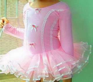Long Sleeve/Sleeveless Leotard Ballet Tutu Costume Dance Dress SZ3 8Y
