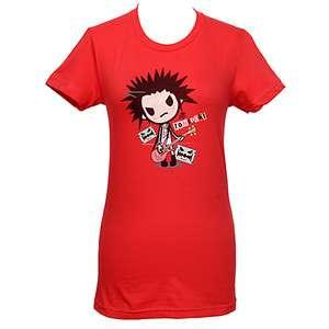 NEW TOKIDOKI Mad Rocker Design Red Baby Doll T Shirt