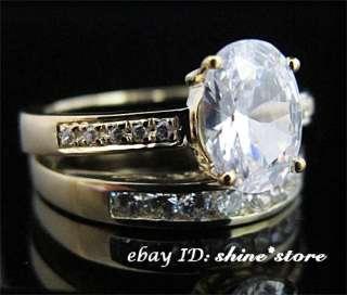 YELLOW GOLD ENGAGEMENT WEDDING SET LADY CREATED DIAMOND RINGS