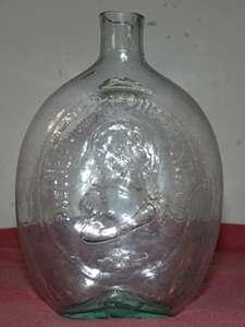 Antique GEORGE WASHINGTON/GEN. TAYLOR BOTTLE Flask w/PONTIL BOTTOM
