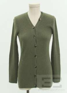 Theory Dark Green Cashmere Rib Knit Cardigan Size S/P