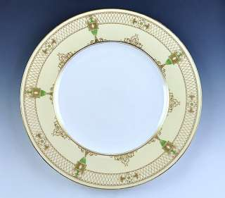 12 ENGLISH PORCELAIN ROYAL WORCESTER GILT DINNER PLATES LATTICEWORK