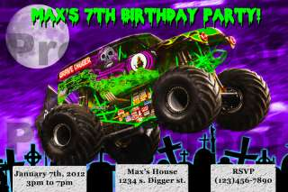 Grave digger monster truck birthday party invitations monster jam grave digger monster jam birthday invitation filmwisefo