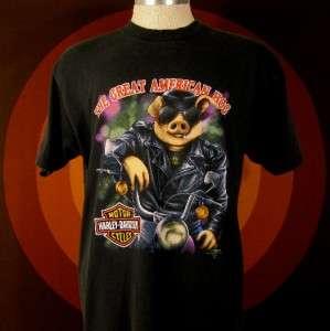 Vintage 3D Emblem HARLEY DAVIDSON Biker HOG 1991 Motorcycle T shirt