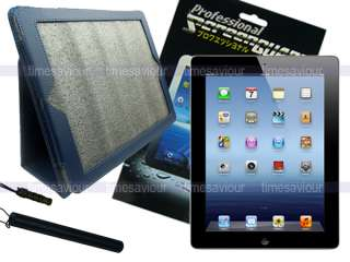Blue Leather Case+Screen Protector+Stylus for iPad 3