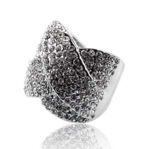 Designer Inspired Silver Pave Crystal Ring Size 7 Fashion