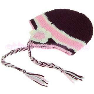 Baby Toddler Crochet Knit Beanie Earflap Hat Cap+Braid [SKU 12