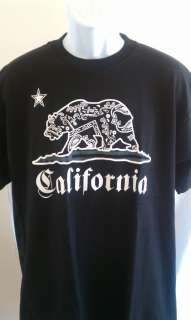 CALIFORNIA STATE BEAR T SHIRT SM XL CALI T SHIRT BLK