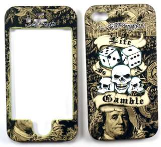 Ed Hardy Life Is A Gamble Apple iPhone 4 Faceplate Case Cover Snap On