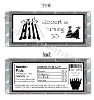 OVER THE HILL 30th 40th 50th Candy Wrappers Kiss Labels