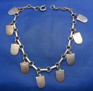 Vintage 800 Silver & Enamel Travel Shield Charm Bracelet (Dot Dash) 9