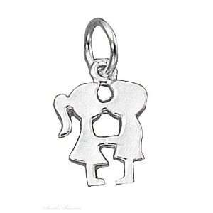 Sterling Silver Kissing Boy Girl Silhouette Charm Jewelry