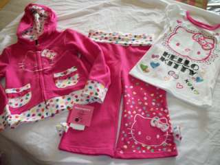 NEW GIRLS 3PC HELLO KITTY SWEATER OUTFIT SET 3/4 4 5