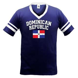Dominican Republic Flag Mens V Neck Ringer T Shirt Tee