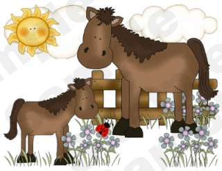 FARM BARNYARD ANIMALS COW HORSE PIG SHEEP BABY NURSERY WALL BORDER