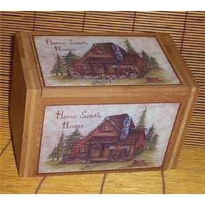 Cabin Recipe Box Bamboo Home Sweet Home Lodge Country