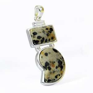 Lace Jasper Gemstone Jewelry Silver like Pendant Black