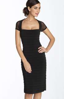 NEW MAGGY LONDON Illusion Back Pleated Matte Jersey DRESS 2 BLACK LACE