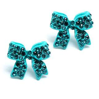 Fashion Crystal Pave Bow Ribbon Stud Earrings Red