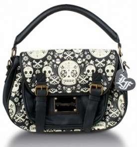 Loungefly Black White Skull Cross Body Bag Satchel Purse Gothic