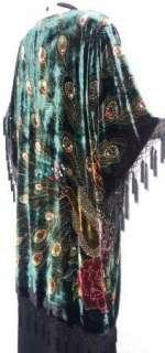 Silk Velvet KIMONO Opera Coat Duster Beaded Black Multi Peacock Maya