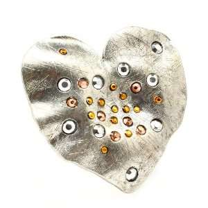 XX Large Hammered Heart and Crystal Fashion Ring with Stretch Band