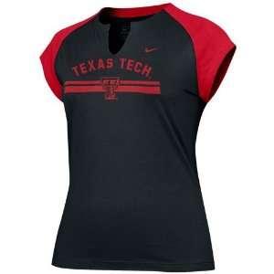 Nike Texas Tech Red Raiders Black Ladies Tissue Raglan T