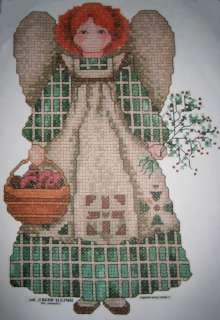 Country Primitive ANGEL Garden Shirt~ Cross Stitch Look