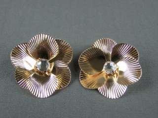 Gold tone crystal BIG flower daisy post stud earrings