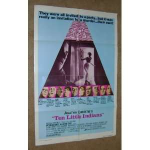 Ten Little Indians Original 1 Sheet Movie Poster Vintage