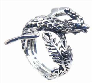 Vintag Phoenix Leaf Wing Feather Bird Silver Ring Sz 7