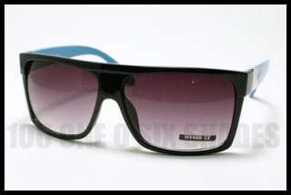 FLAT TOP Squared Retro Fashion Sunglasses Oversized Black BLUE Mob
