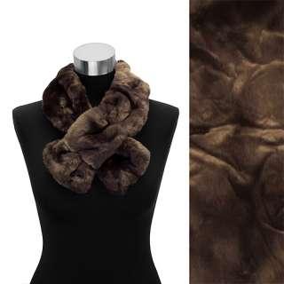 Faux Fur Pull Through Scarf Animal Print Leopard Black