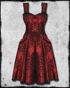 SPIN DOCTOR RED BLACK FLOCKED GOTH STEAMPUNK VICTORIAN THORNE CORSET