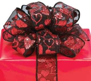 VALENTINES BLACK RED GLITTER HEARTs Wired Edge RIBBON