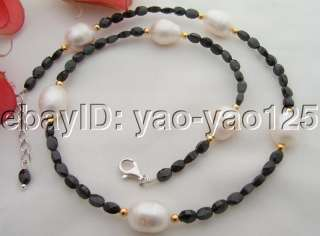 Stunning Black Spinel&Pearl Necklace 925 Silver Clasp